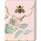 Brooch Mini Notepad - Pink Floral Bee