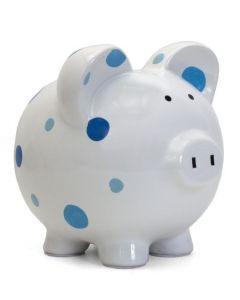 Piggy Bank - Handpainted - Blue Dots