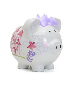 Piggy Bank - Handpainted - Fairy Castle