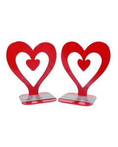 Heart Bookends Red