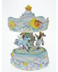 "6"" PONY  MUSICAL CAROUSEL Blue"