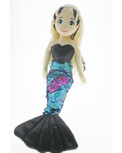 45cm SYBIL Flip Sequined Black & Blue Mermaid