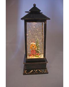 LED W-S Lantern Puppy Ate Santa's Cookies