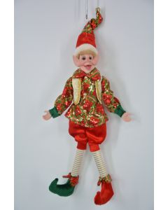 45cm Pose-able Elf Red, Green & Gold