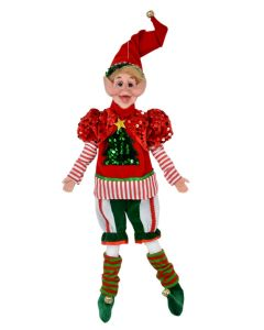 45cm Pose-able Elf Red, Green & White