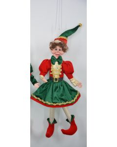 45cm Pose-able Elf Red, Green & Gold Girl